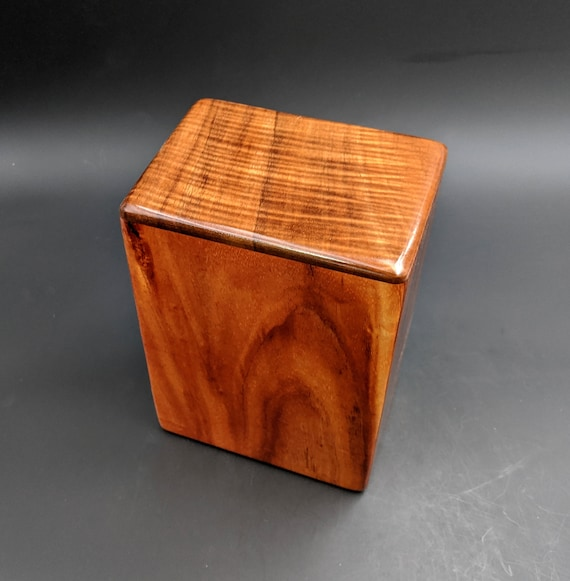 "Large Curly Hawaiian Koa Wooden Memorial Cremation Urn... 7""wide x 5""deep x 9""high Wood Adult Cremation Urn Handmade in Hawaii LK-013120-B"