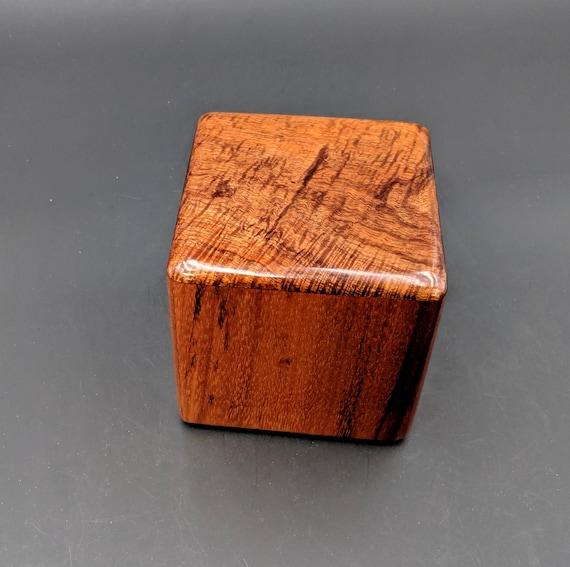 "Curly Hawaiian Koa  Pet or Infant Small Cremation Urn  4 3/4"" x 4 1/2"" x 4""  Custom Handmade Urns Ashes Memorial Keepsake Urn SK-072619-B"