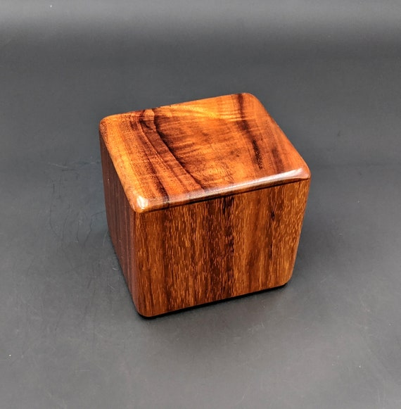 "Curly Hawaiian Koa  Pet or Infant Small Cremation Urn  4 3/4"" x 4 1/4"" x 4""  Custom Handmade Urns Ashes Memorial Keepsake Urn SK-101520-A"