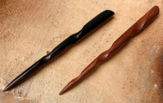 1 Ebony and 1 Rosewood 6 Inch Handmade Conical SpiralHair Stick Groove Running the Length of Stick Pic Pin Pick Black Brown