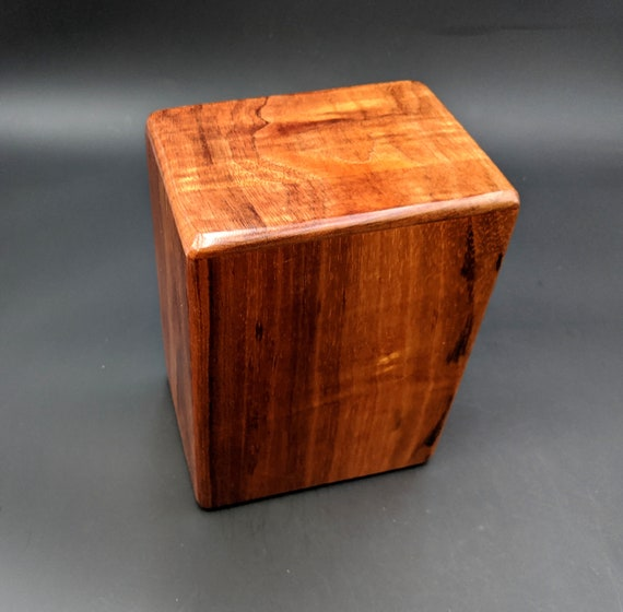"Large Curly Hawaiian Koa Wooden Memorial Cremation Urn... 7""wide x 5""deep x 9""high Wood Adult Cremation Urn Handmade in Hawaii LK-090820-C"