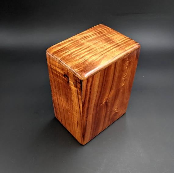 """Large Curly Hawaiian Koa Wooden Memorial Cremation Urn... 7""""wide x 5""""deep x 9""""high Wood Adult Cremation Urn Handmade in Hawaii LK-032321-A"""