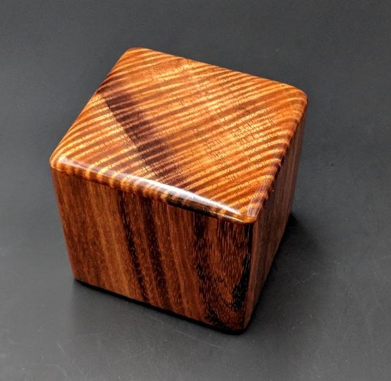 "Curly Hawaiian Koa  Pet or Infant Small Cremation Urn  4 3/4"" x 4 1/4"" x 4""  Custom Handmade Urns Ashes Memorial Keepsake Urn SK-090518-C"
