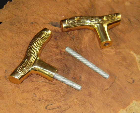 "TWO (2)  Cast Brass Smaller Fritz Cane Walking Stick Handle with 3 1/2"" Threaded Rod Connector for Your Cane Shaft"