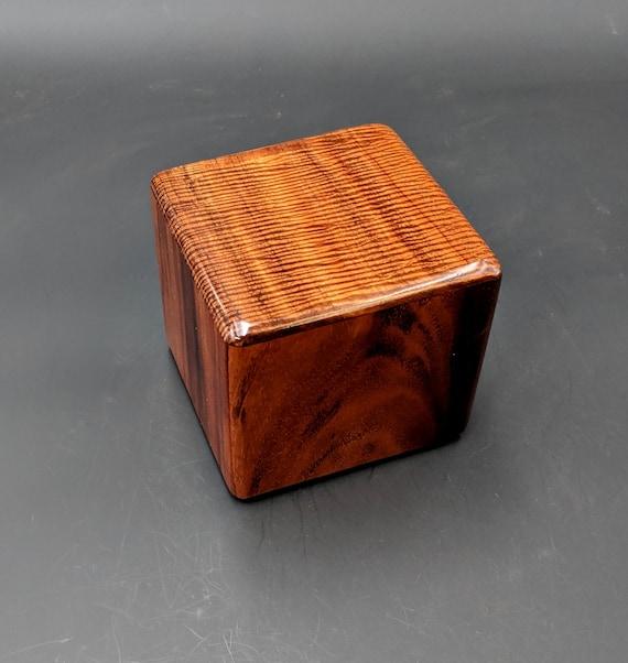 "Curly Hawaiian Koa  Pet or Infant Small Cremation Urn  4 3/4"" x 4 1/2"" x 4""  Custom Handmade Urns Ashes Memorial Keepsake Urn SK-101819-A"