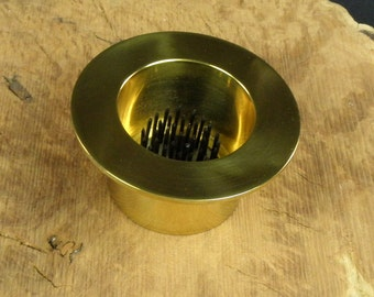 """1 Solid Polished Brass Water Holding Floral Pin Frog Kenzan 3 1/2"""" Lip Fits in 2 3/8"""" Hole for Japanese Ikebana Vases  1 3/4"""" High"""