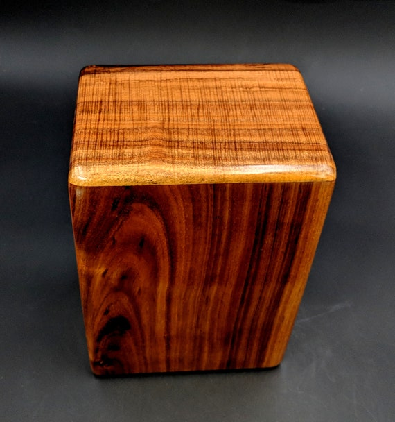 """Large Curly Hawaiian Koa Wooden Memorial Cremation Urn... 7""""wide x 5""""deep x 9""""high Wood Adult Cremation Urn Handmade in Hawaii LK-112718-F"""