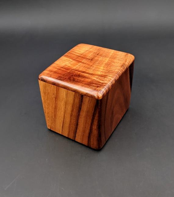 "Curly Hawaiian Koa  Pet or Infant Small Cremation Urn  4 3/4"" x 4 1/4"" x 4""  Custom Handmade Urns Ashes Memorial Keepsake Urn SK-083021-B"