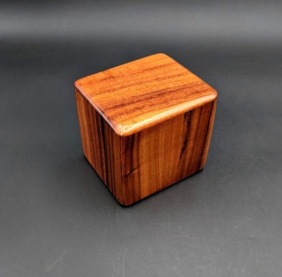 "Curly Hawaiian Koa  Pet or Infant Small Cremation Urn  4 3/4"" x 4 1/4"" x 4""  Custom Handmade Urns Ashes Memorial Keepsake Urn SK-041321-A"