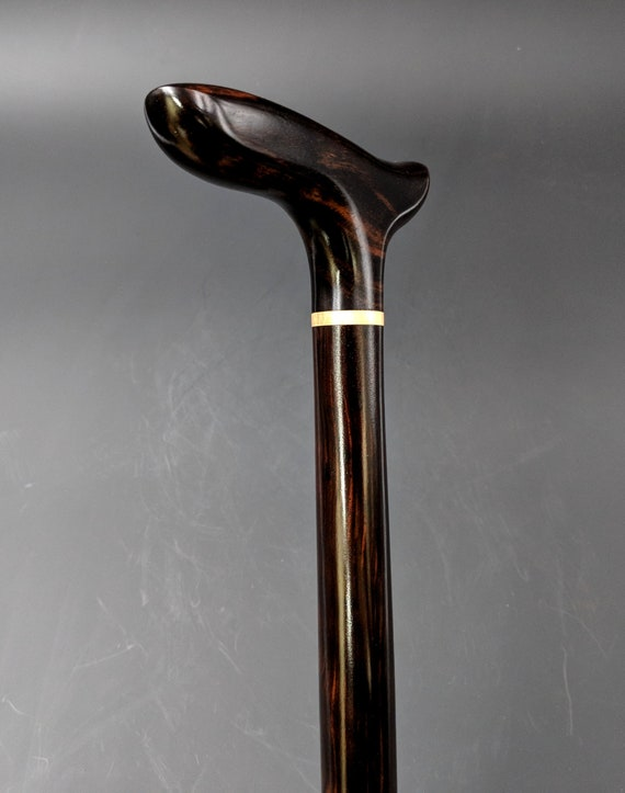 "Ebony Walking Stick Cane 36 5/16"" Black Dark Brown Stripes Turned Ebony Straight Cane Shaft Wooden Semi-Gloss lacquer Finish EE-052318-A"