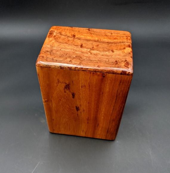 """Large Curly Hawaiian Koa Wooden Memorial Cremation Urn... 7""""wide x 5""""deep x 9""""high Wood Adult Cremation Urn Handmade in Hawaii LK-082420-B"""
