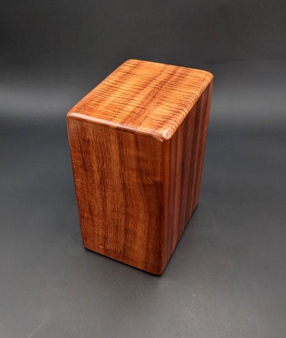 """Large Curly Hawaiian Koa Wooden Memorial Cremation Urn... 7""""wide x 5""""deep x 9""""high Wood Adult Cremation Urn Handmade in Hawaii LK-092821-A"""
