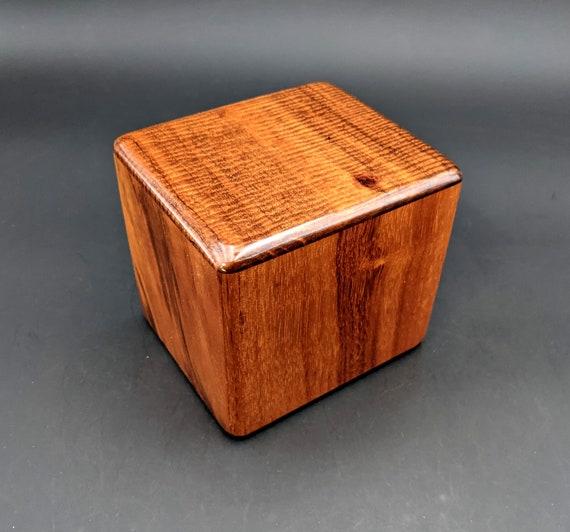 "Curly Hawaiian Koa  Pet or Infant Small Cremation Urn  4 3/4"" x 4 1/4"" x 4""  Custom Handmade Urns Ashes Memorial Keepsake Urn SK-041321-B"