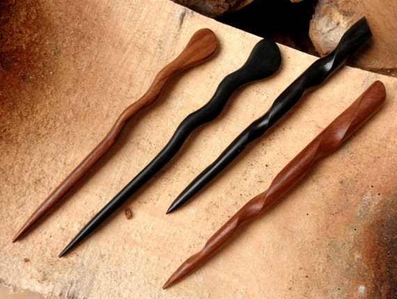 2 Ebony and 2 Rosewood 6 Inch Handmade Wooden Conical  and Spiral Hair Sticks Pics Pins Picks Bun Holders Shawl Pins Black Brown