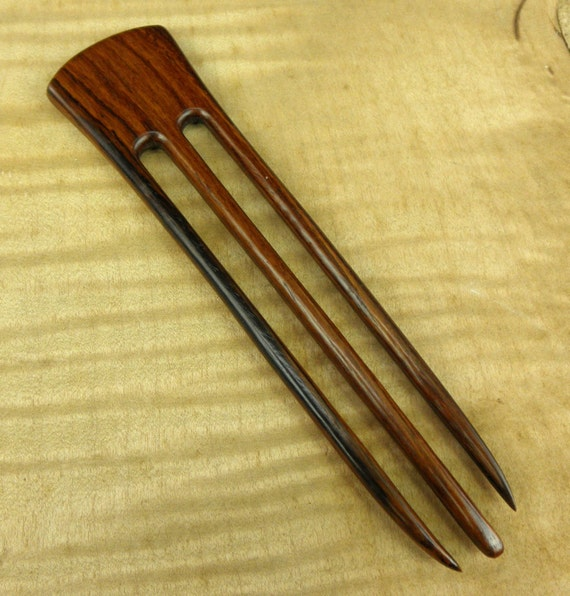 "Rosewood 6 Inch Handmade Wooden Straight 3-Prong Hair Fork Pick Pin Pic Comb Stick FPL 4.5"" Dark Brown Strength to Hold A Lot of Hair"