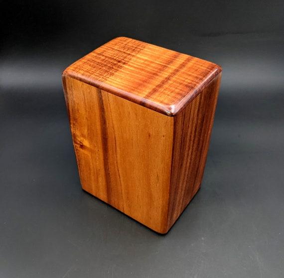 """Large Curly Hawaiian Koa Wooden Memorial Cremation Urn... 7""""wide x 5""""deep x 9""""high Wood Adult Cremation Urn Handmade in Hawaii LK-041321-B"""