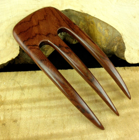 "Laos Rosewood 4 7/8 Inch Three Prong Wooden Curved Hair Fork Pick Pin Comb Pic Stick Deep Red with Blackish Grain 2"" wide FPL 3 1/2"""