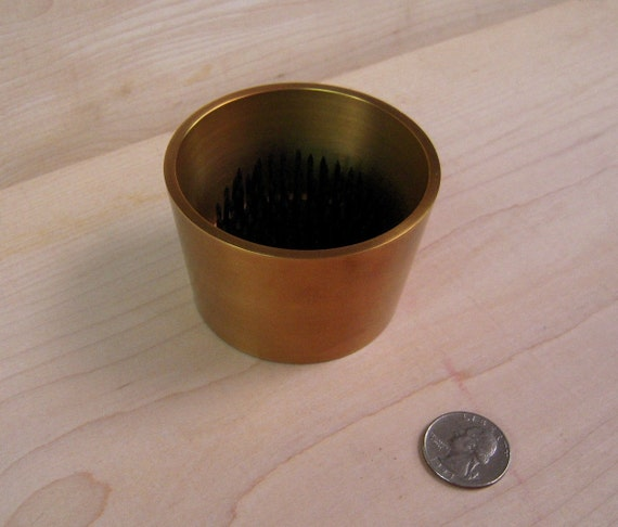 "1 Solid Antique  Brass Water Holding  Tapered Floral Pin Frog Kenzan Fits in 3"" Hole for Japanese Ikebana Vases  2"" High"