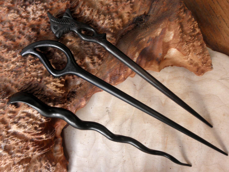 2 Black  Wooden Hair Sticks