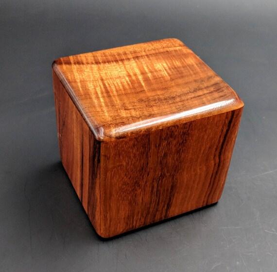 "Curly Hawaiian Koa  Pet or Infant Small Cremation Urn  4 3/4"" x 4 1/4"" x 4""  Custom Handmade Urns Ashes Memorial Keepsake Urn SK-010119-A"