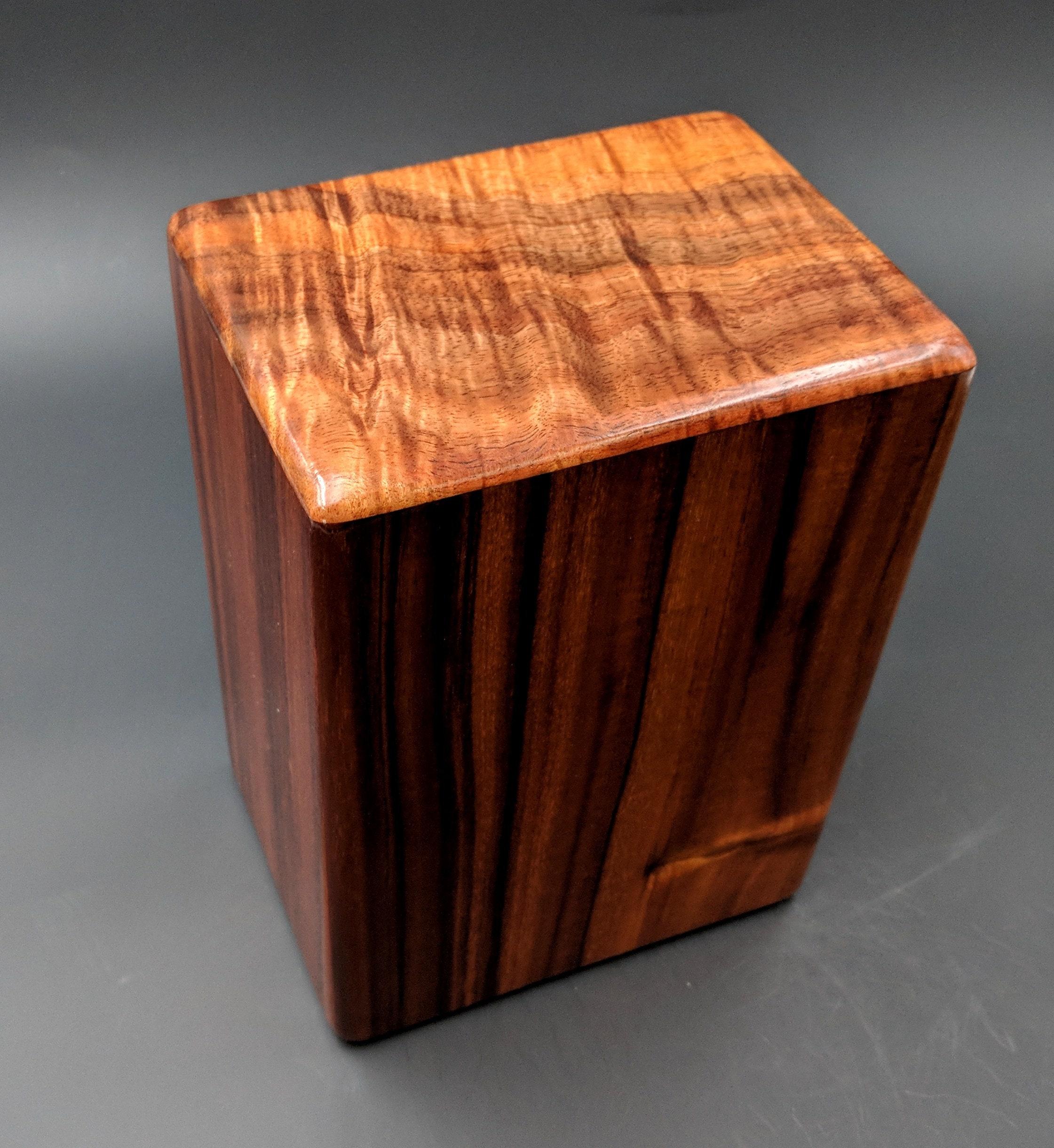 Large Curly Hawaiian Koa Wooden Memorial Cremation Urn 7wide
