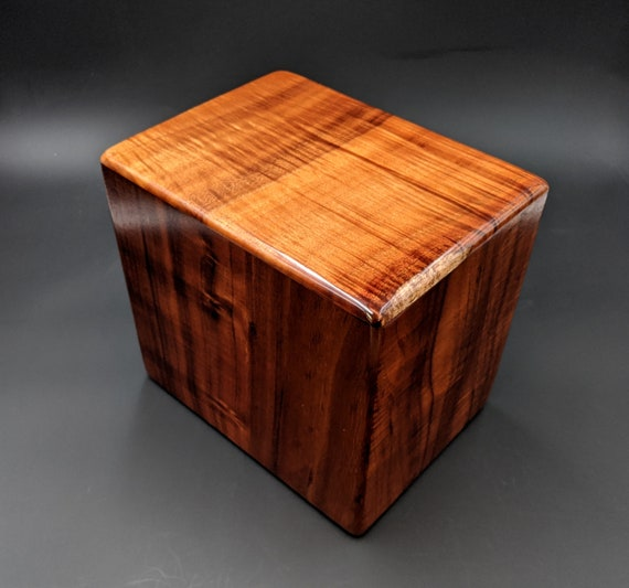 "Curly Hawaiian Koa Companion Cremation Urn... 10"" x 7"" x 9"" Keep Grandma and Grandpa Together Forever Handmade in Hawaii  KComp-112519-A"