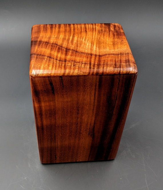 "Curly Hawaiian Koa Medium Size Memorial Cremation Urn...5 3/4"" x 5"" x 9"" ..Constant Supply On Hand Wooden Cremation Urn MK-070618-A"