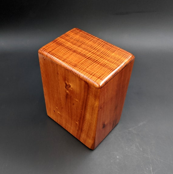 "Large Curly Hawaiian Koa Wooden Memorial Cremation Urn... 7""wide x 5""deep x 9""high Wood Adult Cremation Urn Handmade in Hawaii LK-012420-A"
