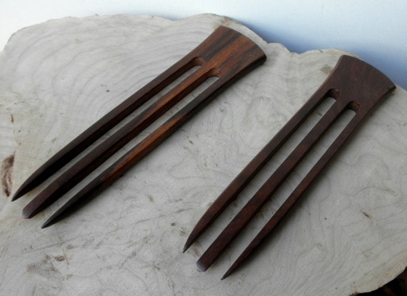 "2 Rosewood 6 Inch Dark Brown Wooden Straight 3-Prong Hair Forks FPL 4.5"" Combs Pics Pins Picks Sticks"