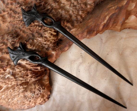 2 Ebony Wood 7 Inch Long Decorative Black Hair Sticks  Pics Pins Clips Flower Top Design Straight Shaft