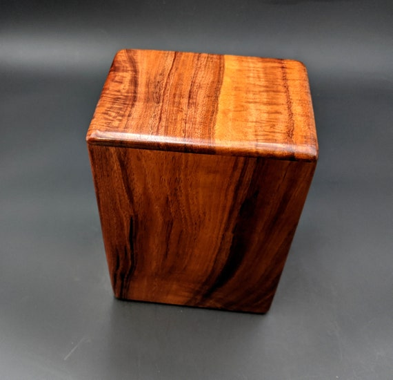 "Large Curly Hawaiian Koa Wooden Memorial Cremation Urn... 7""wide x 5""deep x 9""high Wood Adult Cremation Urn Handmade in Hawaii LK-090820-A"