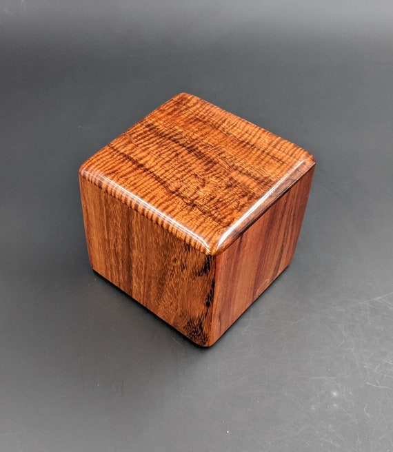 "Curly Hawaiian Koa  Pet or Infant Small Cremation Urn  4 3/4"" x 4 1/2"" x 4""  Custom Handmade Urns Ashes Memorial Keepsake Urn SK-101119-C"