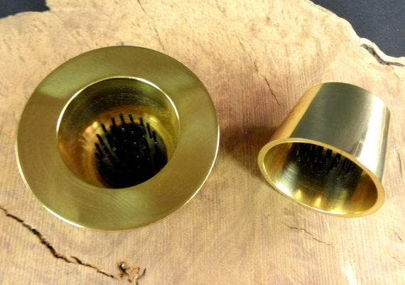 "Includes 1 Solid Brass Water Holding Floral Pin Frog Kenzan 3 1/2"" Lip and 2 3/8"" Tapered Set  Japanese Ikebana Vases  1 3/4"" High"