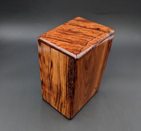 """Large Curly Hawaiian Koa Wooden Memorial Cremation Urn... 7""""wide x 5""""deep x 9""""high Wood Adult Cremation Urn Handmade in Hawaii LK-071119-B"""