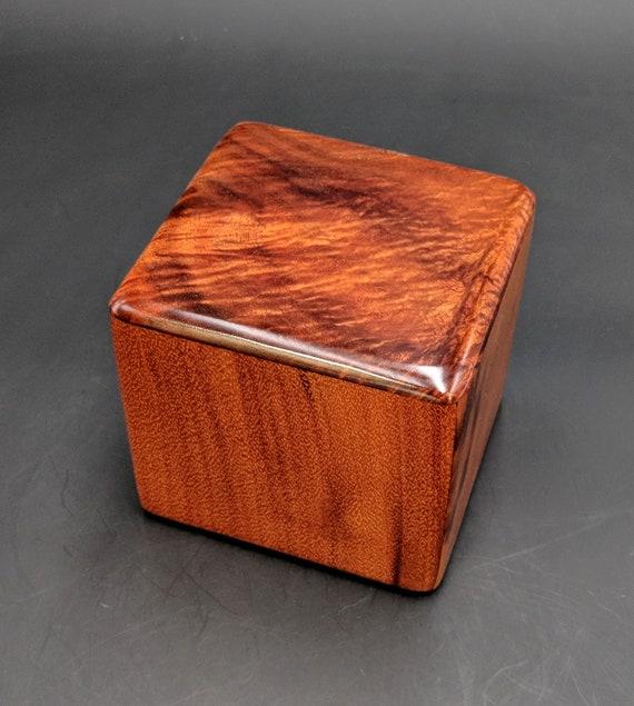 "Curly Hawaiian Koa  Pet or Infant Small Cremation Urn  4 3/4"" x 4 1/4"" x 4""  Custom Handmade Urns Ashes Memorial Keepsake Urn SK-011519-A"