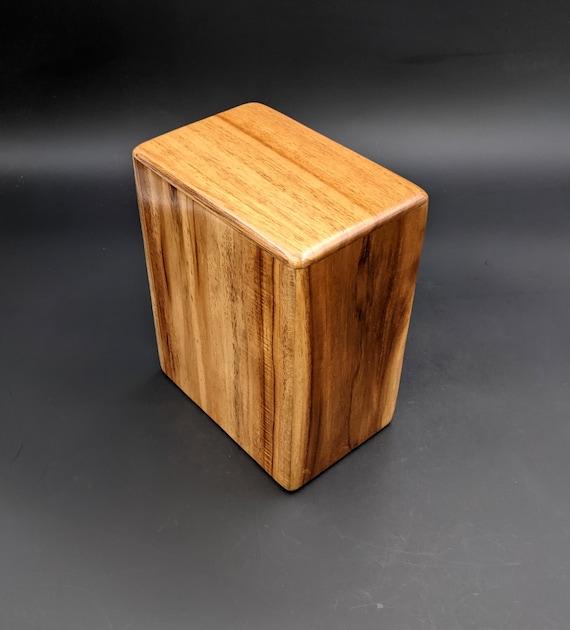 "Adult Large Teak Wood Memorial Cremation Urn... 7"" Wide x 4.5"" Deep x 8.5"" High  Solid Teak Wood LT-081021C Brownish Tan Black stripes"