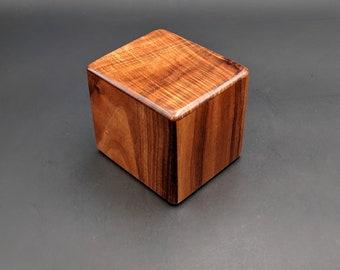 "Curly Hawaiian Koa  Pet or Infant Small Cremation Urn  4 3/4"" x 4 1/4"" x 4""  Custom Handmade Urns Ashes Memorial Keepsake Urn SK-090221-C"