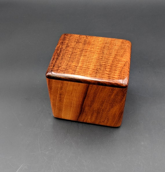 "Curly Hawaiian Koa  Pet or Infant Small Cremation Urn  4 3/4"" x 4 1/4"" x 4""  Custom Handmade Urns Ashes Memorial Keepsake Urn SK-080420-B"