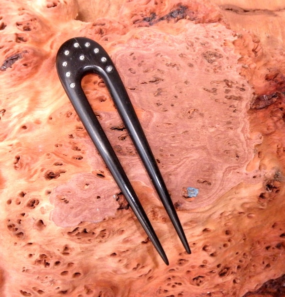 "Ebony 4 5/8 Inch Handmade Wooden 2-prong Hair Fork Pick Pin Comb Stick Pic FPL 3 3/4"" with Nickle Silver Pins in ""Sunburst"" Pattern"