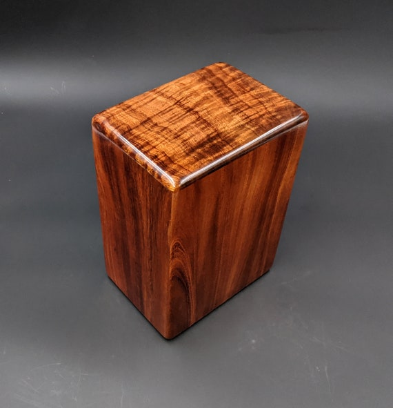 "Large Curly Hawaiian Koa Wooden Memorial Cremation Urn... 7""wide x 5""deep x 9""high Wood Adult Cremation Urn Handmade in Hawaii LK-021420-A"