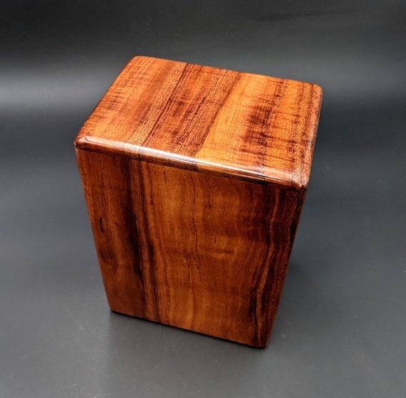 """Large Curly Hawaiian Koa Wooden Memorial Cremation Urn... 7""""wide x 5""""deep x 9""""high Wood Adult Cremation Urn Handmade in Hawaii LK-022621-A"""
