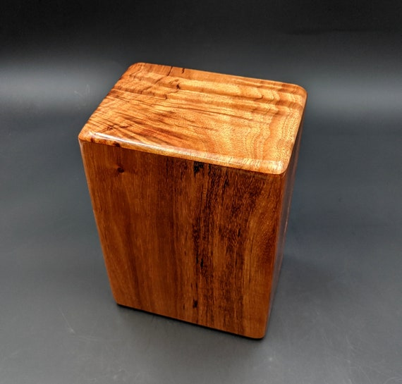 "Large Curly Hawaiian Koa Wooden Memorial Cremation Urn... 7""wide x 5""deep x 9""high Wood Adult Cremation Urn Handmade in Hawaii LK-051520-A"