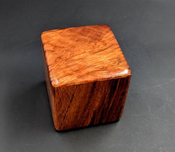 "Curly Hawaiian Koa  Pet or Infant Small Cremation Urn  4 3/4"" x 4 1/4"" x 4""  Custom Handmade Urns Ashes Memorial Keepsake Urn SK-010119-B"