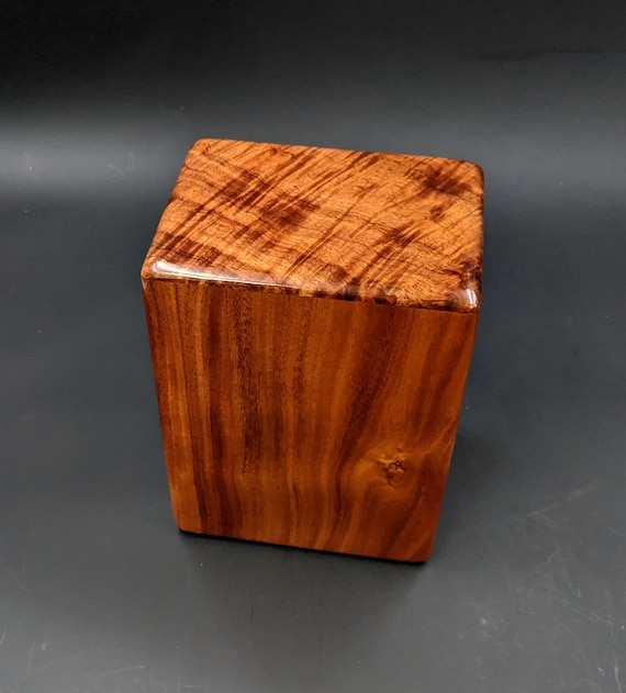 "Large Curly Hawaiian Koa Wooden Memorial Cremation Urn... 7""wide x 5""deep x 9""high Wood Adult Cremation Urn Handmade in Hawaii LK-021420-B"