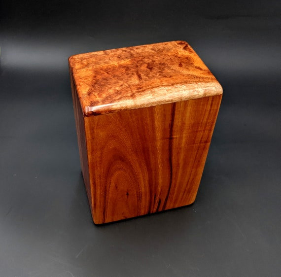 "Large Curly Hawaiian Koa Wooden Memorial Cremation Urn... 7""wide x 5""deep x 9""high Wood Adult Cremation Urn Handmade in Hawaii LK-011921-C"