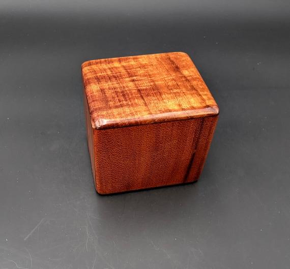 "Curly Hawaiian Koa  Pet or Infant Small Cremation Urn  4 3/4"" x 4 1/4"" x 4""  Custom Handmade Urns Ashes Memorial Keepsake Urn SK-022621-B"