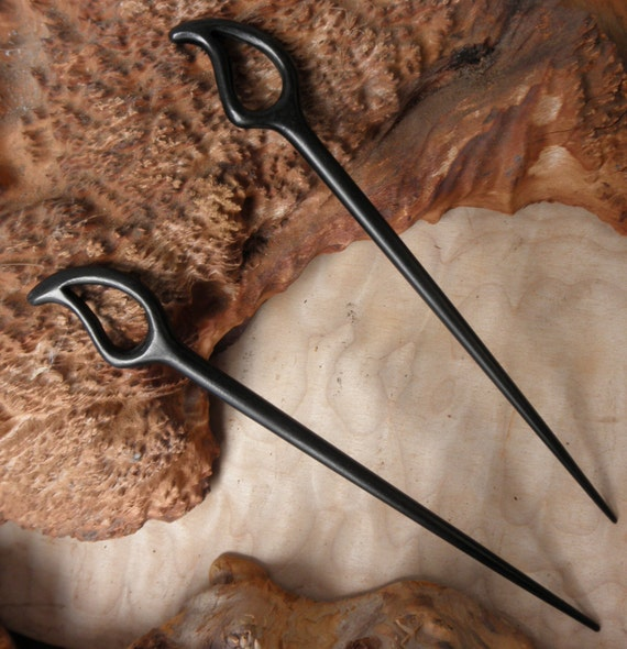 "2 Ebony 7 3/4 Inch Long Handmade ""Raindrop"" Hair Stick"