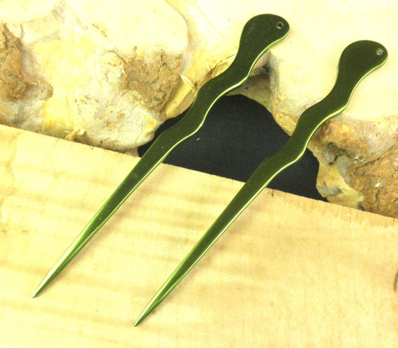 "Two  6"" New Aluminum Green Thin Spiral Hair Sticks ... Anodized Dark Green Color Hair Stick Shawl Pin Unbreakable Waterproof Metal Stick"