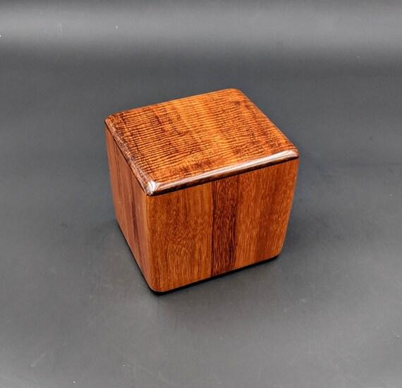 "Curly Hawaiian Koa  Pet or Infant Small Cremation Urn  4 3/4"" x 4 1/4"" x 4""  Custom Handmade Urns Ashes Memorial Keepsake Urn SK-101920-A"