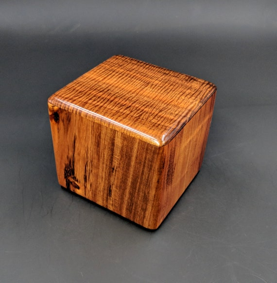 "Curly Hawaiian Koa  Pet or Infant Small Cremation Urn  4 3/4"" x 4 1/2"" x 4""  Custom Handmade Urns Ashes Memorial Keepsake Urn SK-051419-A"